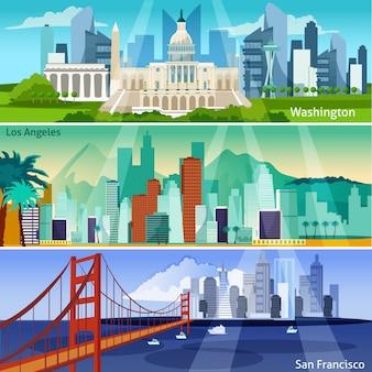 Conjunto de banners de paisajes urbanos americanos