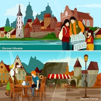 Conjunto de banners de paisajes urbanos europeos