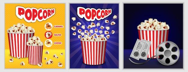 Conjunto de banners de palomitas de cine.
