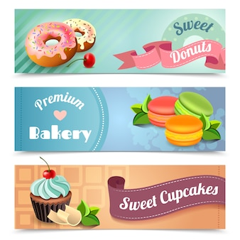 Conjunto de banners de panadería