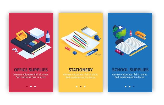 Conjunto de banners de papelería de oficina y escuela.