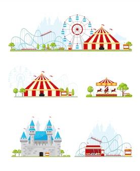 Conjunto de banners de parque de atracciones