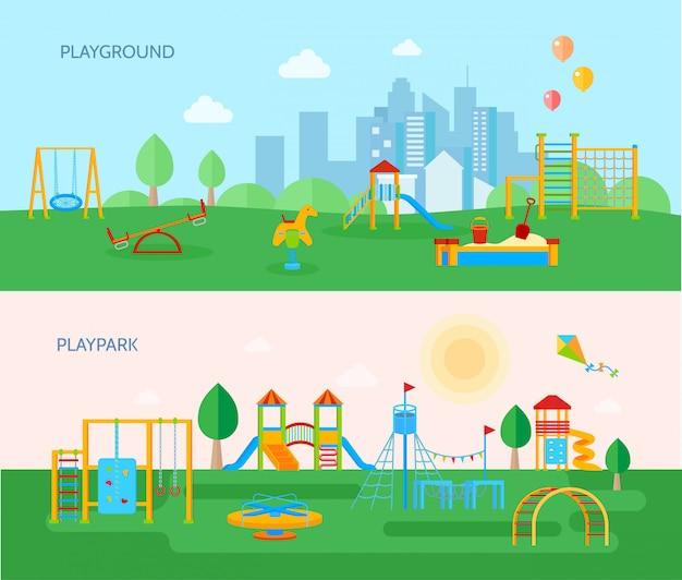 Conjunto de banners de parque infantil