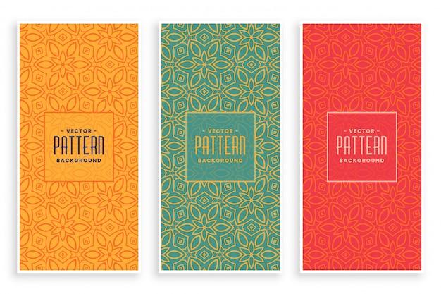 Conjunto de banners de patrón floral abstracto retro
