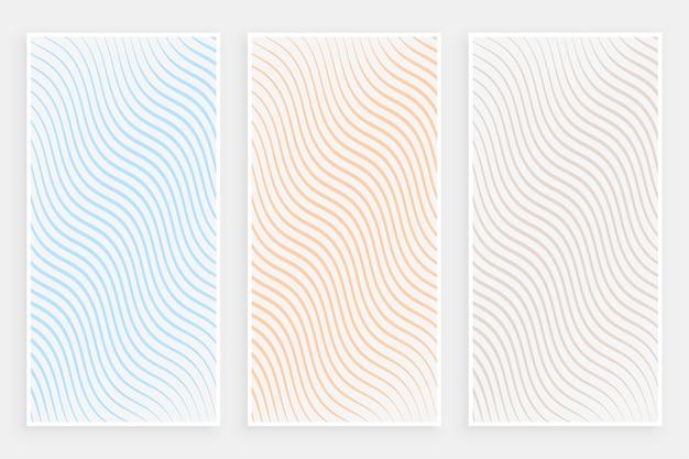 Conjunto de banners de patrón de líneas fluidas curvas minimalistas sutiles