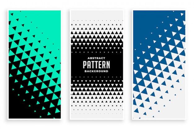 Conjunto de banners de patrón triángulo abstracto