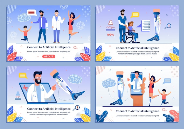 Conjunto de banners de personajes de médico y paciente discapacitado