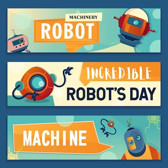 Conjunto de banners de personajes robóticos.