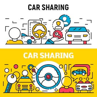 Conjunto de banners de personas compartiendo coche, estilo de contorno