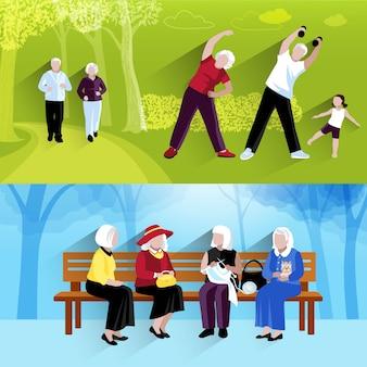 Conjunto de banners de personas mayores