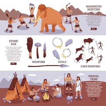 Conjunto de banners de personas de la tribu primigenia