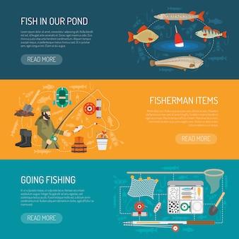 Conjunto de banners de pesca