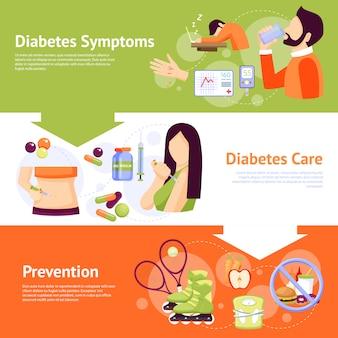 Conjunto de banners planas de síntomas de diabetes
