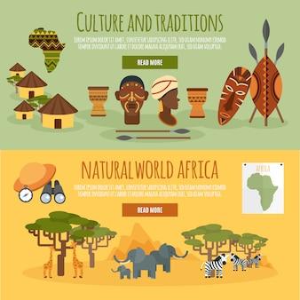 Conjunto de banners planos de áfrica 2