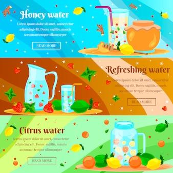 Conjunto de banners planos de agua de desintoxicación