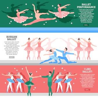 Conjunto de banners planos de ballet