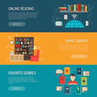 Conjunto de banners planos de biblioteca