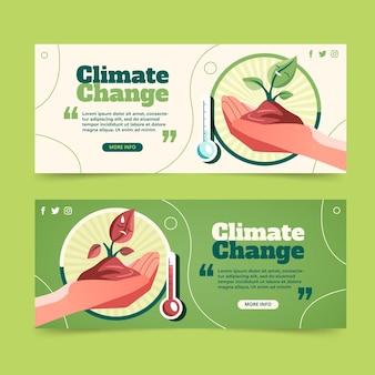Conjunto de banners planos de cambio climático.