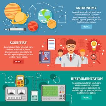 Conjunto de banners planos de ciencia 3