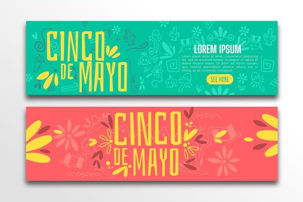 Conjunto de banners planos cinco de mayo