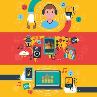 Conjunto de banners planos de concepto de aplicaciones de música