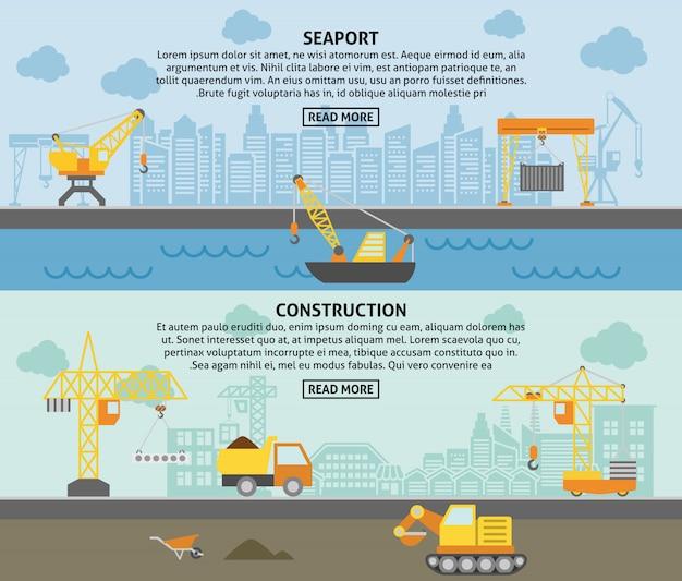 Conjunto de banners planos de construcción grúa
