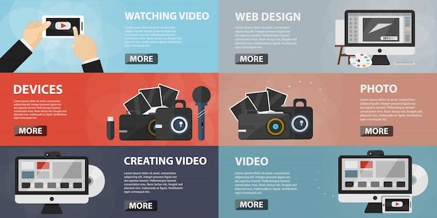 Conjunto de banners planos de creación de videos para sitios web. concepto de video creativo, redes sociales y marketing online. colección de elementos fotográficos y equipamiento en diseño plano.