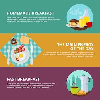 Conjunto de banners planos de desayuno