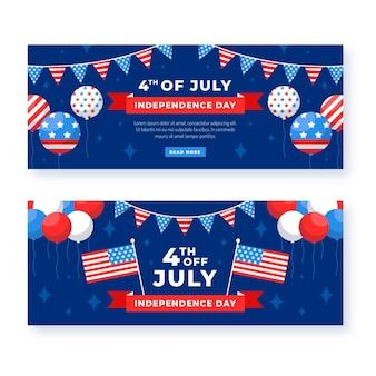 Conjunto de banners planos del día de la independencia del 4 de julio