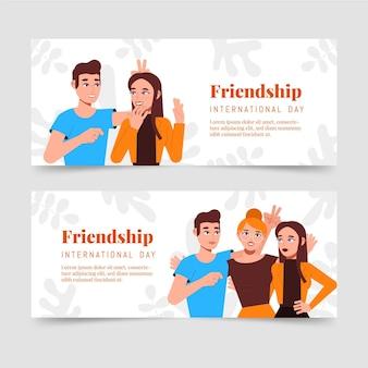 Conjunto de banners planos del día internacional de la amistad