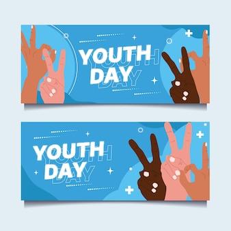 Conjunto de banners planos del día internacional de la juventud.