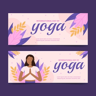 Conjunto de banners planos del día internacional del yoga.