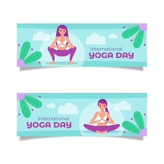 Conjunto de banners planos del día internacional del yoga