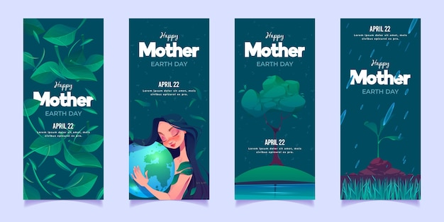 Conjunto de banners planos del día de la madre tierra