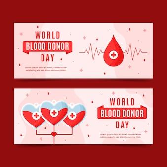 Conjunto de banners planos del día mundial del donante de sangre