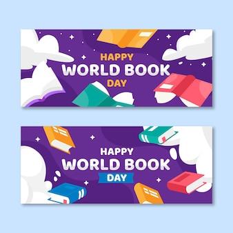 Conjunto de banners planos del día mundial del libro