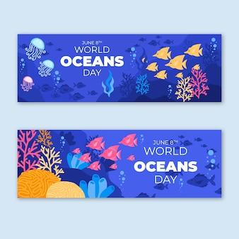 Conjunto de banners planos del día mundial de los océanos