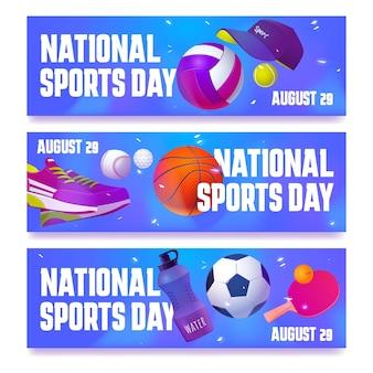 Conjunto de banners planos del día nacional del deporte.