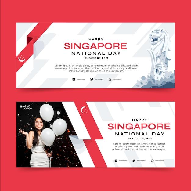 Conjunto de banners planos del día nacional de singapur