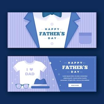 Conjunto de banners planos del día del padre