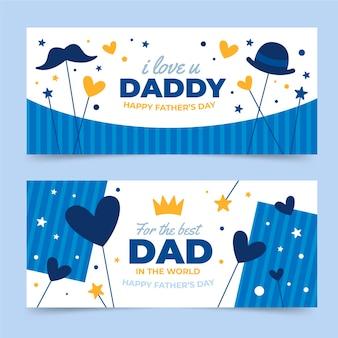 Conjunto de banners planos del día del padre. vector gratuito