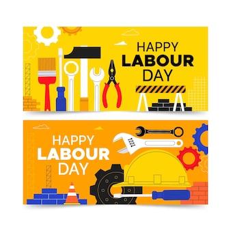 Conjunto de banners planos del día del trabajo