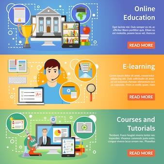 Conjunto de banners planos de educación 3 en línea