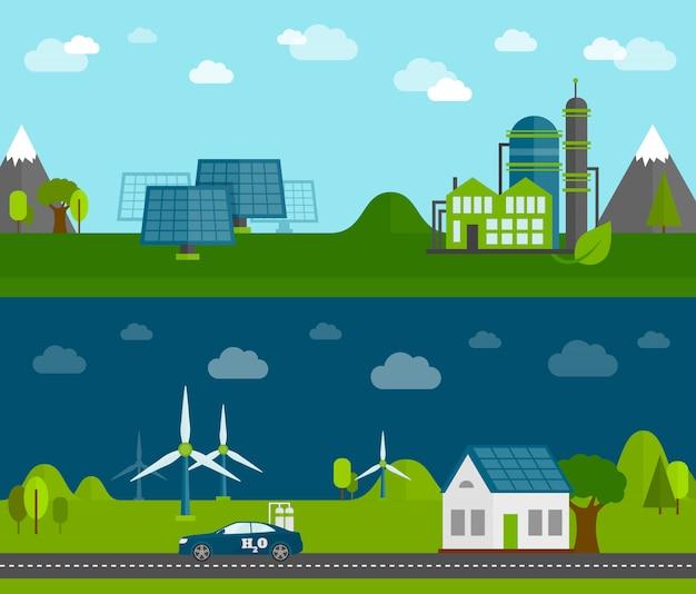 Conjunto de banners planos de energía ecológica.