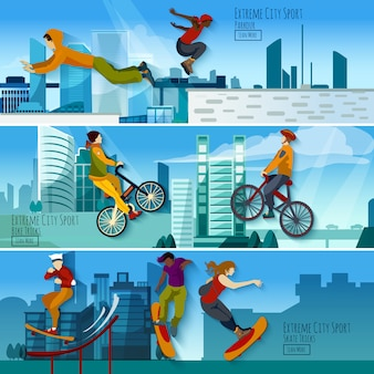 Conjunto de banners planos de extreme city sport