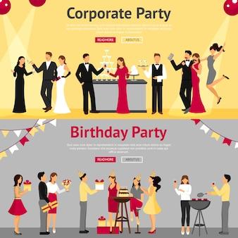 Conjunto de banners planos de fiesta