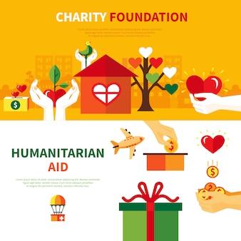 Conjunto de banners planos de fundaciones de caridad