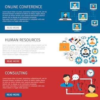 Conjunto de banners planos de gestión de recursos humanos
