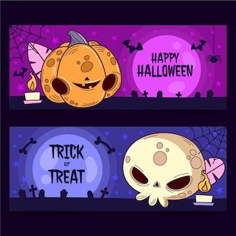 Conjunto de banners planos de halloween