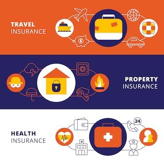 Conjunto de banners planos horizontales de póliza de seguro